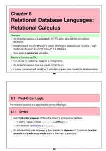 Relational Database Languages: Relational Calculus