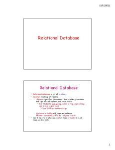 Relational Database. Relational Database