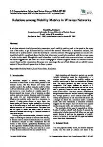 Relations among Mobility Metrics in Wireless Networks