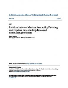 Relations between Maternal Personality, Parenting, and Toddlers Emotion Regulation and Externalizing Behaviors
