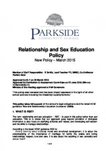 Relationship and Sex Education Policy New Policy March 2015