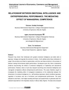 RELATIONSHIP BETWEEN EMOTIONAL INTELLIGENCE AND ENTREPRENEURIAL PERFORMANCE: THE MEDIATING EFFECT OF MANAGERIAL COMPETENCE