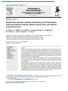 Relationship between exhaled leukotriene and 8-isoprostane levels and asthma severity, asthma control level, and asthma control test score