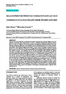 RELATIONSHIP BETWEEN FAT OXIDATION AND LACTATE THRESHOLD IN ATHLETES AND OBESE WOMEN AND MEN