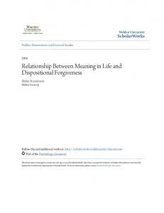 Relationship Between Meaning in Life and Dispositional Forgiveness