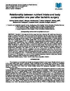 Relationship between nutrient intake and body composition one year after bariatric surgery