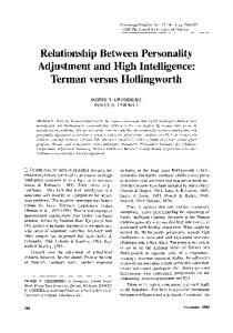 Relationship Between Personality Adjustment and High Intelligence: Terman versus Hollingworth