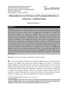 Relationship between Self-Esteem and Psychological Hardiness in Adolescents: A Relation Design