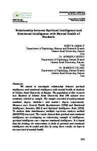 Relationship between Spiritual Intelligence and Emotional Intelligence with Mental Health of Students