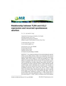 Relationship between TLR4 and CCL2 expression and recurrent spontaneous abortion