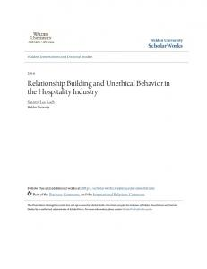 Relationship Building and Unethical Behavior in the Hospitality Industry