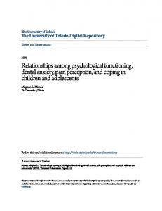Relationships among psychological functioning, dental anxiety, pain perception, and coping in children and adolescents