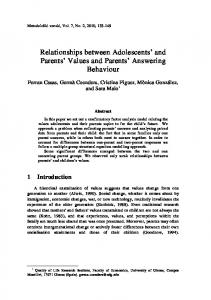 Relationships between Adolescents and Parents Values and Parents Answering Behaviour