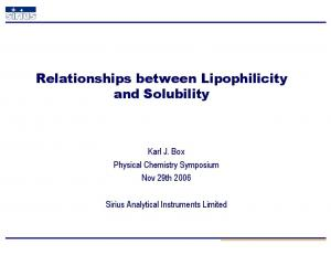 Relationships between Lipophilicity and Solubility