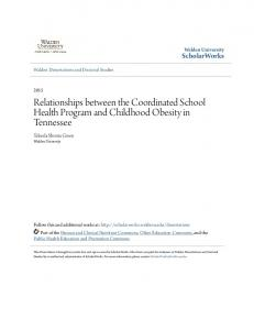 Relationships between the Coordinated School Health Program and Childhood Obesity in Tennessee
