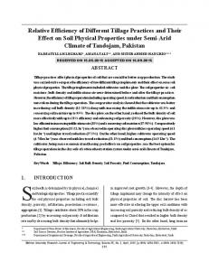 Relative Efficiency of Different Tillage Practices and Their Effect on Soil Physical Properties under Semi-Arid Climate of Tandojam, Pakistan