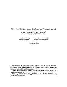 Relative Performance Evaluation Contracts and Asset Market Equilibrium 1