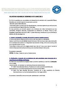 RELATORIA ASAMBLEA DOMINGO 9 DE JUNIO 2013