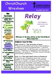 Relay. ChristChurch. Wrexham. Page 1. ChristChurch Wrexham. Scripture Focus for May. May Key Events