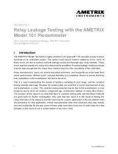 Relay Leakage Testing with the AMETRIX Model 101 Picoammeter
