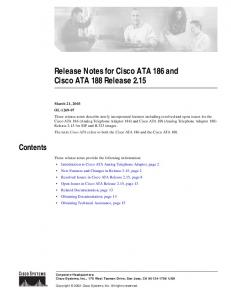 Release Notes for Cisco ATA 186 and Cisco ATA 188 Release 2.15