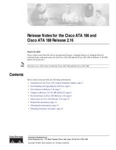 Release Notes for the Cisco ATA 186 and Cisco ATA 188 Release 2.16