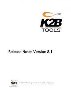 Release Notes Version 8.1