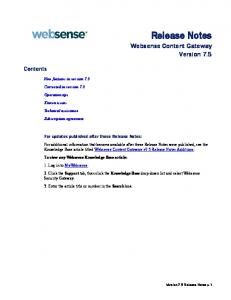 Release Notes Websense Content Gateway Version 7.5