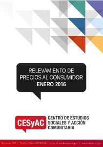RELEVAMIENTO DE PRECIOS AL CONSUMIDOR ENERO 2016