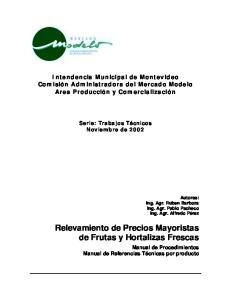 Relevamiento de Precios Mayoristas de Frutas y Hortalizas Frescas