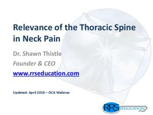 Relevance of the Thoracic Spine in Neck Pain