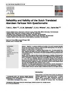 Reliability and Validity of the Dutch Translated Aberdeen Varicose Vein Questionnaire