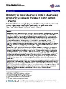 Reliability of rapid diagnostic tests in diagnosing pregnancy-associated malaria in north-eastern Tanzania
