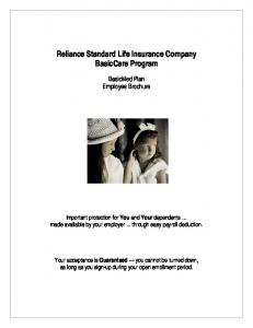 Reliance Standard Life Insurance Company BasicCare Program