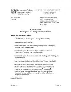 RELIGION 29 Kierkegaard and Religious Existentialism