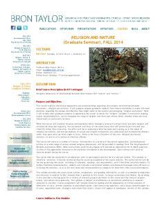 RELIGION AND NATURE (Graduate Seminar), FALL 2014