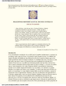 RELIGIONES MISTERICAS EN EL MUNDO ANTIGUO I