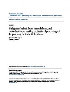 Religiosity, beliefs about mental illness, and attitudes toward seeking professional psychological help among Protestant Christians