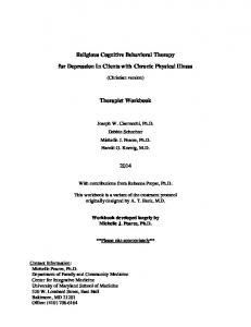 Religious Cognitive Behavioral Therapy. for Depression In Clients with Chronic Physical Illness. Therapist Workbook