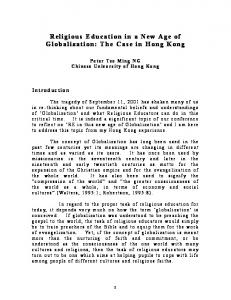 Religious Education in a New Age of Globalization: The Case in Hong Kong