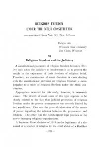 RELIGIOUS FREEDOM UNDER THE MEIJI CONSTITUTION