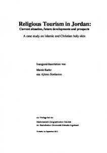 Religious Tourism in Jordan: Current situation, future developments and prospects