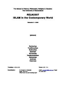 RELN2307 ISLAM in the Contemporary World