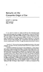 Remarks on the Canaanite Origin of Eve