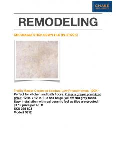 REMODELING GROUTABLE STICK DOWN TILE (IN-STOCK)