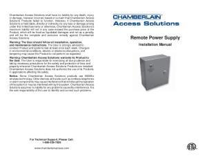 Remote Power Supply. Installation Manual