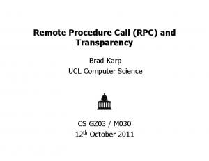 Remote Procedure Call (RPC) and Transparency
