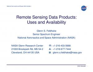 Remote Sensing Data Products: