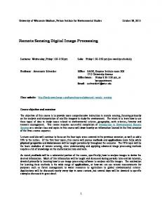 Remote Sensing Digital Image Processing