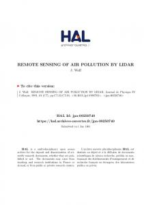 REMOTE SENSING OF AIR POLLUTION BY LIDAR